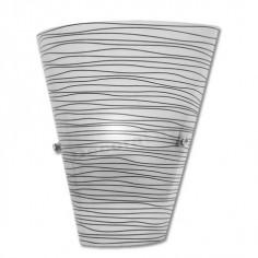 Aplique pared cono de cristal mate con líneas negras