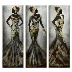 Set de tres lienzos étnicos de africanas en tonos marrones y dorados