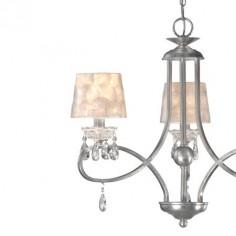 Lámpara Cádiz Crystal de tres luces en pan de plata con pantallas en nácar