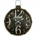 Reloj de pared redondo en metal marrón con cuerda