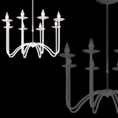 Lámpara chandelier LED Lucentia en color blanco con ocho brazos