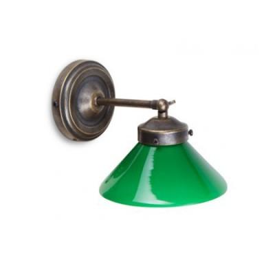 Aplique de pared vintage Crosby en cristal triplex verde y metal envejecido