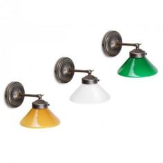 Lámpara de pared Crosby en cristal triplex opal y metal en cuero envejecido