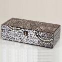 Caja decorativa rectangular mosaico marrón con círculos