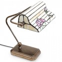 Lámpara de sobremesa Poiret con tulipa de cristales Tiffany con flor rosa
