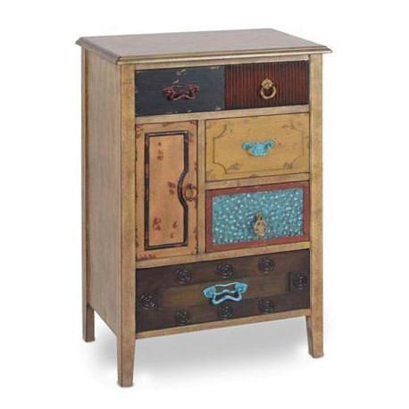 Comprar mesita de noche madera con cinco cajones y una - Mesitas de noche recicladas ...
