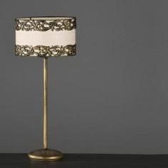 Lámpara de sobremesa Dione en anticuario con pantalla cilíndrica beige