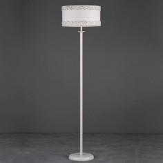 Lámpara de pie Dione en blanco con pantalla textil blanca