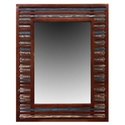 Espejo Sumatra en madera rozada marrón, azul y verde