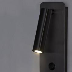 Aplique Aron LED orientable en metal acabado en negro