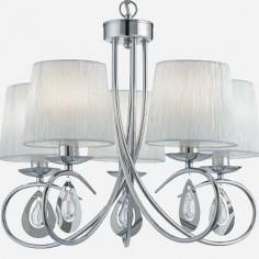 Lámpara Angelique en cromo con cinco luces y pantallas en blanco