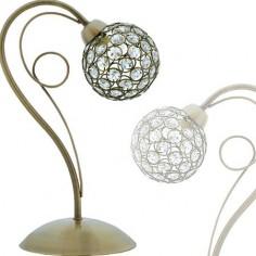 Sobremesa Kegan en metal acabado en cuero y tulipa de esfera en cristales