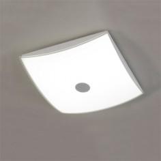 Plafón de techo LED cuadrado Asis en cromo y opal
