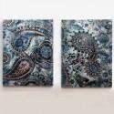 Set de dos lienzos Cachemir en tonos azules