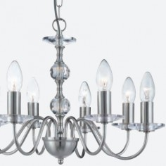 Lámpara clásica Monarch de ocho luces en plata satinada