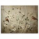 Lienzo al óleo tonos marrones con pájaros y flores blancas