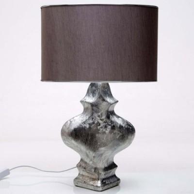 Lámpara sobremesa Body en cerámica plateada con pantalla marrón