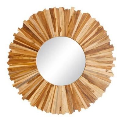 Espejo decorativo circular en madera natural