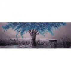 Pintura Árbol en turquesa en bastidor de madera