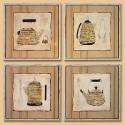 Set de cuatro cuadros Cafeteras para cocina