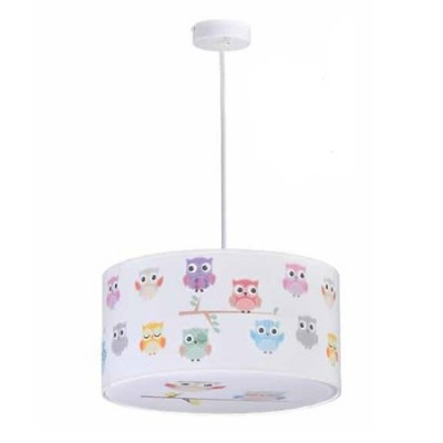 Lámpara colgante infantil Búhos de colores