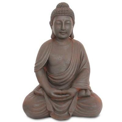 Figura decoración oriental Buda en gris efecto óxido