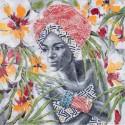 Lienzo Africana en gris y multicolor