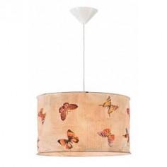Lámpara de techo Vintage con pantalla cilíndrica de mariposas