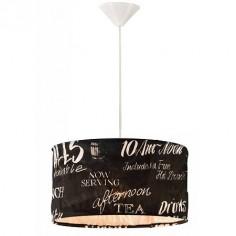 Lámpara colgante Vintage Tea pantalla negra con letras blancas