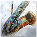 Pintura Saxo de saxofón multicolor cuadrado