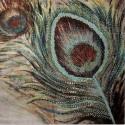 Lienzo cuadrado Pluma tonos marrones y verdes con lentejuelas