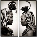 Set de dos cuadros de Africanas en blanco y negro tamaño grande