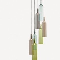 Lámpara de techo Bottle con botellas de cristal de colores
