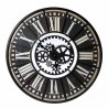 Reloj de pared grande redondo negro en hierro con mecanismo simulado