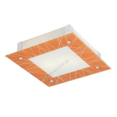 Plafón de metal cromo con cristal naranja líneas blancas