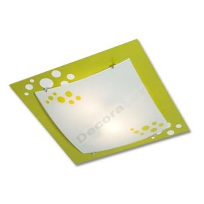 Plafón de metal verde con cristal mate motivos burbujas