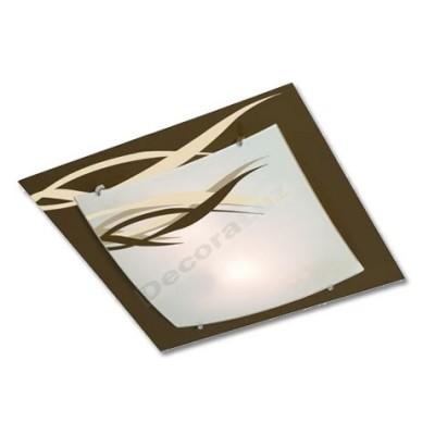 Plafón marrón de cristal con adornos de ramas en crema