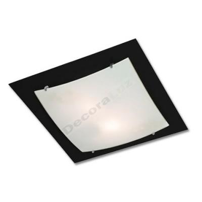 Plafón negro cuadrado con cristal translúcido moderno