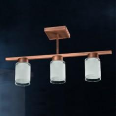 Lámpara lineal Cilindro Cobre en metal con tulipas de cristal