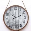 Reloj de pared redondo con cuerda en cobre y blanco