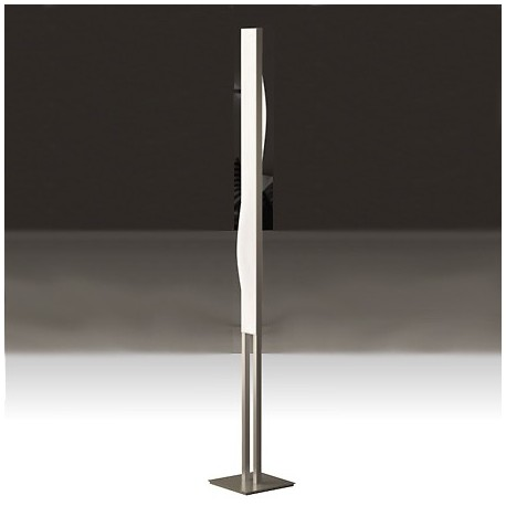 Comprar l mpara de pie curve led regulable en n quel y blanco - Lampara de pie regulable ...
