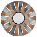 Set de dos espejos pared redondos en metal plata y cobre con grabado