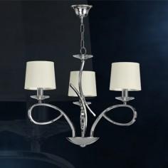 Lámpara Altea tres luces cromo con arandelas en cristal y pantallas beige