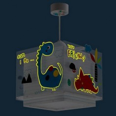 Lámpara colgante infantil Dinos doble pantalla cuadrada