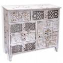 Cómoda Casablanca en madera blanca rozada y plata y dorado