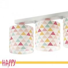 Lámpara infantil tres luces Happy con triángulos de colores