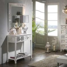 Espejo decoración Casablanca madera blanca rozada con tallado