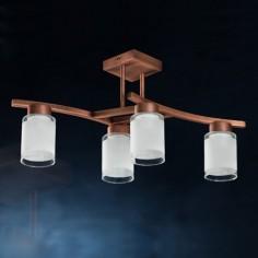 Lámpara de techo Cilindro Cobre de cuatro luces con tulipas de cristal