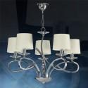 Lámpara Altea cromo con cinco luces y arandelas en cristal óptico