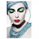 Cuadro Mujer fotoimpresión en cristal templado tonos azules y verdes